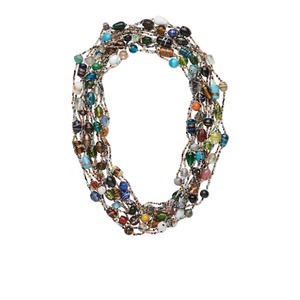 necklace mix, glass, mixed colors, 2.5mm-15x11mm mixed shape, 27-inch continuous strand. sold per pkg of 12.