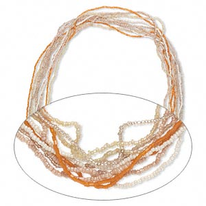 necklace mix, glass seed beads, opaque cream / peach / orange with ab finish. sold per pkg of ten 36-inch continuous loops.
