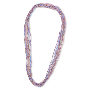 necklace mix, glass seed beads, opaque pink and purple tones with ab finish. sold per pkg of ten 36-inch continuous loops.