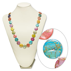 necklace, mother-of-pearl shell (dyed / coated), multicolored ab, 20mm flat round, 34-inch knotted continuous loop. sold individually.