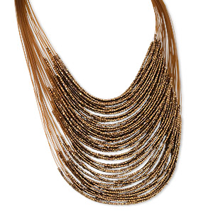 necklace, multi-strand, glass / nylon / silver-plated steel, gold and brown, 19 inches with 2-1/2 inch extender chain and lobster claw clasp. sold individually.