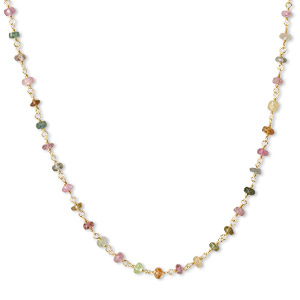 necklace, multi-tourmaline (natural) and gold-finished sterling silver, 3.5-4mm hand-cut faceted rondelle, 18 inches with s-hook clasp. sold individually.