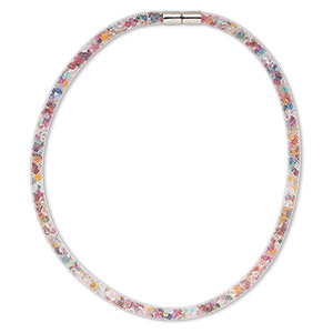 necklace, nylon / acrylic / imitation rhodium-finished pewter (zinc-based alloy), white and rainbow, 6mm wide mesh, 18 inches with magnetic clasp. sold individually.