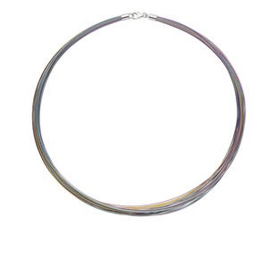 necklace, nylon-coated stainless steel and imitation rhodium-plated sterling silver, multicolored, 48-50 strand, 16-inch. sold individually.