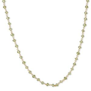 necklace, peridot (natural) and gold-finished sterling silver, 3.5-4mm hand-cut faceted rondelle, 18 inches with s-hook clasp. sold individually.