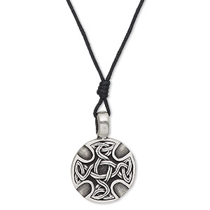 necklace, pewter (tin-based alloy) and waxed cotton cord, black, 28mm round with celtic cross design, 18-34 inches, adjustable. sold individually.