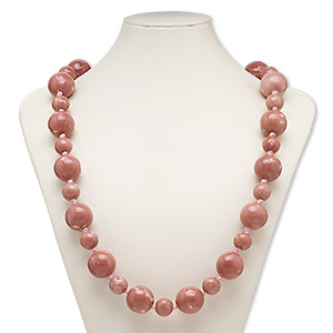 necklace, porcelain and satin, dark pink and light pink, 15mm and 24mm round, 34-inch knotted with tie closure. sold individually.