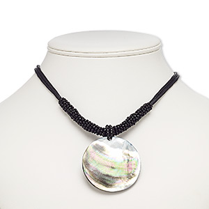 necklace, resin / black lip shell (assembled) / waxed cotton cord / glass / imitation rhodium-plated brass / steel, black, 49mm round, 18 inches with 3-inch extender chain and lobster claw clasp. sold individually.
