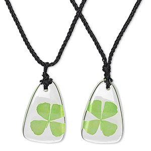 necklace, resin / four-leaf clover / cotton, green / clear / black, 35x22mm triangle, adjustable from 16-1/2 to 22 inches. sold per pkg of 2.