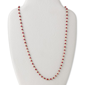 necklace, ruby (dyed) and gold-finished sterling silver, 3.5-4mm hand-cut faceted rondelle, 18 inches with s-hook clasp. sold individually.