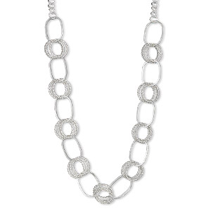 necklace, silver-plated steel, 33x24mm oval and 24mm round, 36-inch continuous chain. sold individually.