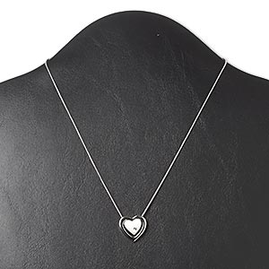 necklace, swarovski crystals and imitation rhodium-plated pewter (zinc-based alloy), crystal clear, 18x18mm double heart, 16 inches with 3-inch extender chain and lobster claw clasp. sold individually.