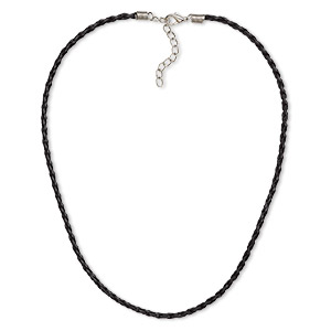 necklace, woven vinyl with imitation rhodium-plated brass and steel, black, 3mm round, 18 inches with 2-inch extender chain and lobster claw clasp. sold per pkg of 6.