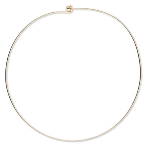 neckwire, gold-finished brass, 1mm rigid round, 16 inches with 6mm twist-off bead end. sold individually.