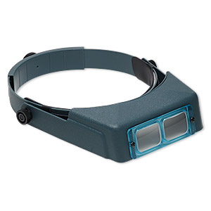 optivisor head magnifier, leather (dyed) / plastic / glass, multicolored, 2x power. sold individually.