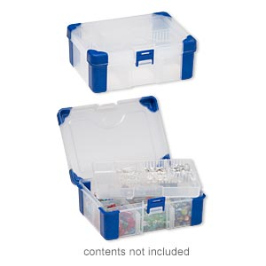 organizer, acrylic and rubber, clear and blue, 6-1/2 x 4-1/2 x 2-1/4 inch rectangle with tray insert, 3-11 adjustable compartments. sold individually.