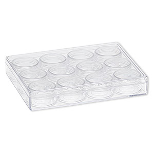 organizer, clear plastic, 6-3/8 x 4-7/8 x 1 inch rectangle with 12 containers. sold individually.