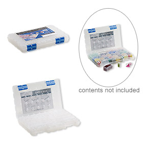 organizer, dot box™, plastic, clear and blue, 11 x 7-1/2 x 1-1/2 inches with (52) removable containers. sold per 53-piece set.