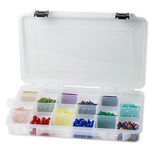 organizer, plano, plastic, clear, 14 x 9 x 2-inch box, 4-24 compartments. sold individually.