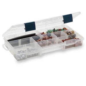 organizer, plano, plastic, clear, 9 x 1-1/4 x 4-inch box, 5-9 compartments. sold individually.