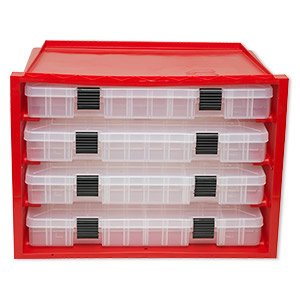 organizer, plano stowaway, plastic, red and clear, 9-1/2 x 15-1/2 x 11-1/4 inches with four boxes, create up to 24 compartments per container with a total of up to 96 compartments. sold individually.