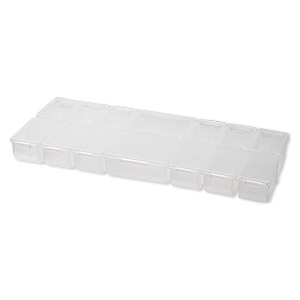 organizer, plastic, clear, 9-1/2 x 1 x 4-1/4 inch rectangle with 14 fixed compartments with individual snap lids. sold individually.
