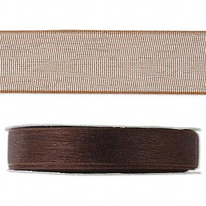 organza ribbon, nylon, brown, 1/2 inch. sold per 33-yard spool.