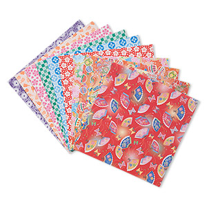 origami paper, washi, multicolored, 6x6-inch square, 10 total patterns. sold per pkg of 100 sheets.