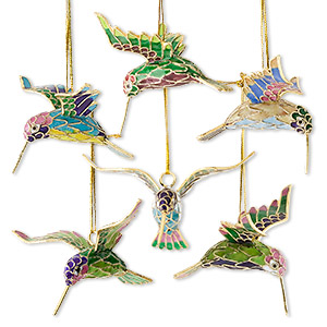 ornament, cloisonne, enamel and gold-finished brass, multicolored, 2-3/4 x 2-1/2 x 1-1/2 inch hummingbird. sold per set of 6.