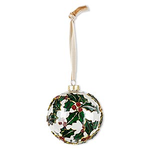 ornament, glass / enamel / velveteen ribbon / gold-finished copper / brass / steel, clear and multicolored, 3-inch round with holly design. sold individually.