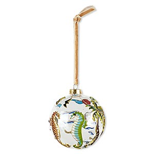 ornament, glass / enamel / velveteen ribbon / gold-finished copper / brass / steel, clear and multicolored, 3-inch round with tropical sea life design. sold individually.