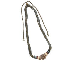 Necklace, hemp cord, Korean boxwood and baked clay, and multiple colors and shapes, 16-28 inch adjustable multi-strand. Sold individually.