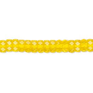 Bead, Czech Fire-polished Glass, Yellow, 6x3mm Faceted Rondelle. Sold Per 16-inch Strand