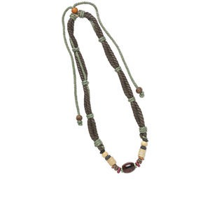 Necklace, hemp cord, Korean boxwood, brass and agate (dyed / heated), brown and multiple colors, multiple shapes, 16-30 inch adjustable multi-strand. Sold individually.