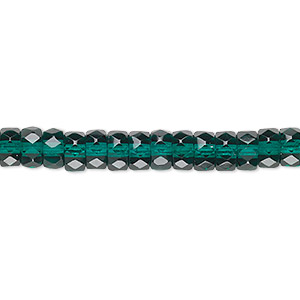 Bead, Czech Fire-polished Glass, Emerald Green, 6x3mm Faceted Rondelle. Sold Per 16-inch Strand 152-39001-00-3/6mm-50740