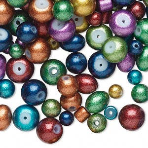 Bead Mix, Glass, Mixed Metallic Colors, 4-8mm Mixed Shape. Sold Per Pkg 650