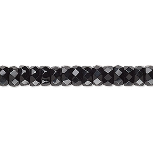 Bead, Czech Fire-polished Glass, Jet Black, 6x3mm Faceted Rondelle. Sold Per 16-inch Strand 152-39001-00-3/6mm-23980