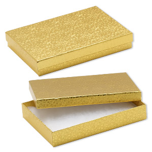 Cotton-filled Boxes Paper Gold Colored