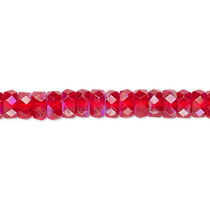 Bead, Czech Fire-polished Glass, Light Red AB, 6x3mm Faceted Rondelle. Sold Per 16-inch Strand
