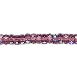 Bead, Czech Fire-polished Glass, Amethyst Purple AB, 6x3mm Faceted Rondelle. Sold Per 16-inch Strand 152-39001-00-3/6mm-20050-28701