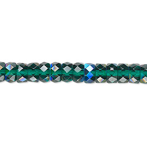 Bead, Czech Fire-polished Glass, Emerald Green AB, 6x3mm Faceted Rondelle. Sold Per 16-inch Strand 152-39001-00-3/6mm-50740-28701