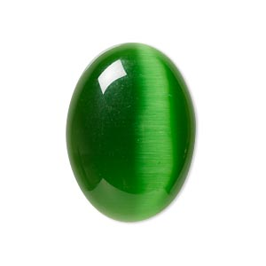 Cabochons Cat's Eye Glass Greens
