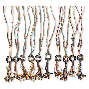 Necklace mix, bone / leather / wood / hemp (dyed), mixed colors, 5-inch dangle with mixed shape pendant and accent beads, 28 inches hemp cord with bone and cord button-style clasp. Sold per pkg of 10.