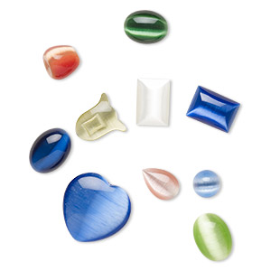 Component Mix, Cat's Eye Glass, Mixed Colors, 2-31mm Mixed Shapes. Sold Per Pkg 10