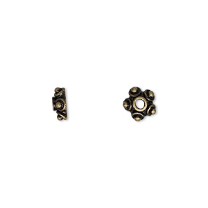 """Bead Cap, Antique Brass-finished """"pewter"""" (zinc-based Alloy), 7x3mm Star, Fits 6-8mm Bead. Sold Per Pkg 24"""