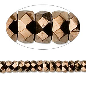 Bead, Czech Fire-polished Glass, Light Bronze, 6x3mm Faceted Rondelle. Sold Per 16-inch Strand