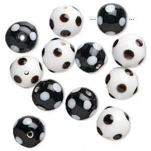 Bead, Lampworked Glass, Black White, 12mm Round Dots. Sold Per Pkg 12