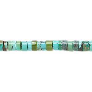 Bead, Resin Turquoise (assembled), Blue, 5x3mm Heishi, Mohs Hardness 5 6. Sold Per 16-inch Strand 1036LE