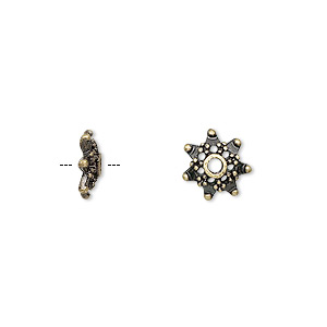 """Bead Cap, Antique Brass-finished """"pewter"""" (zinc-based Alloy), 10x3mm Snowflake, Fits 8-12mm Bead. Sold Per Pkg 24"""
