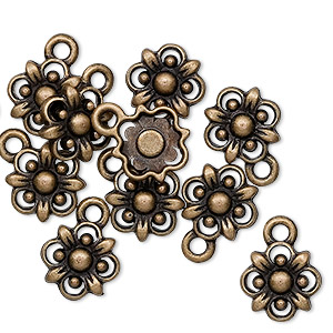"Charm, Antique Brass-finished ""pewter"" (zinc-based Alloy), 10.5x10.5mm Flower. Sold Per Pkg 10"